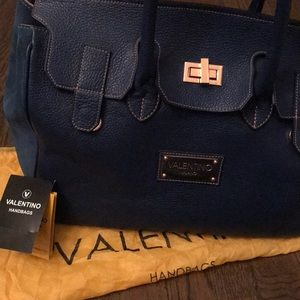 VALENTINO Milano Blue Leather Handbag